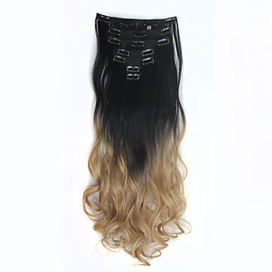 """levne Syntetické příčesky-Připínací syntetický Prodloužení vlasů 130 18""""24"""" Prodlužování vlasů"""