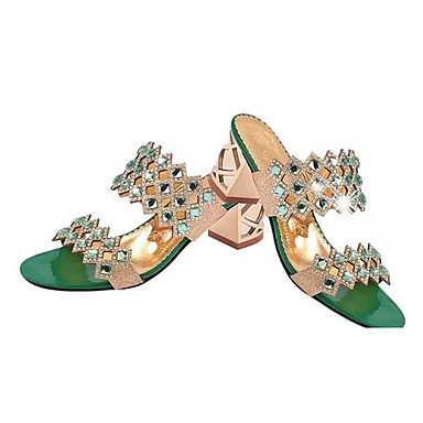 cheap Women's Sandals-Women's Sandals / Clogs & Mules Glitter Crystal Sequined Jeweled Summer Chunky Heel / Block Heel Pointed Toe Vintage Dress Crystal Geometric PU Red / Gold / Green / EU40