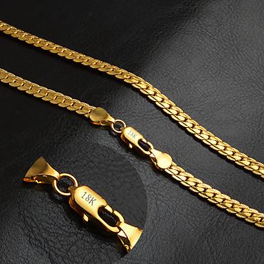 levne Dámské šperky-Pánské Řetízky Řepkový řetězec Foxtail řetězec Bahtův řetěz Přizpůsobeno Klasické Módní Hip-hop Pozlaceno 18k Žluté zlato Zlatá 50 cm Náhrdelníky Šperky 1ks Pro Párty Denní Ležérní