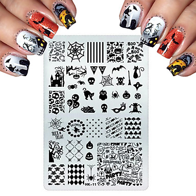 cheap Nails New Arrivals-Stainless Steel Stamping For Cats Halloween Skull Butterfly Flower Nail Stamping Plates Nail Art