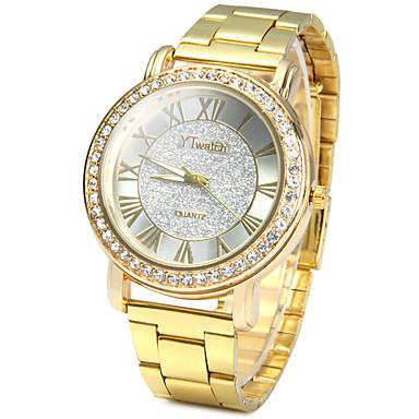 povoljno Ženski satovi-Muškarci Ručni satovi s mehanizmom za navijanje Pločasti sat Diamond Watch Kvarc Nehrđajući čelik Zlatna imitacija Diamond / Analog dame Vintage Ležerne prilike Simulirani Diamond Watch Moda - Zlato