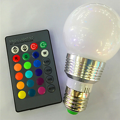 preiswerte LED Birnen-1pc 3 W Smart LED Glühlampen 120 lm E26 / E27 A60(A19) 1 LED-Perlen Hochleistungs - LED Abblendbar Ferngesteuert Dekorativ RGB 85-265 V / 1 Stück / RoHs