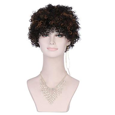 billige Kostymeparykk-Syntetiske parykker Kinky Curly Stil Lokkløs Parykk Svart Syntetisk hår Brun Parykk