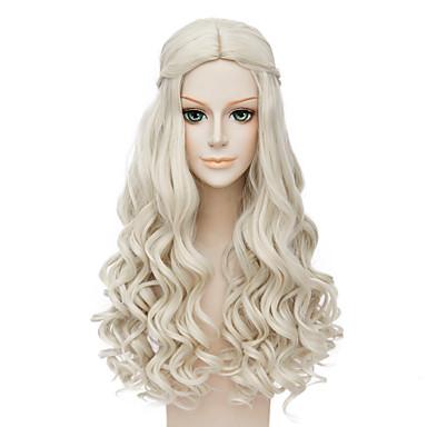 billige Kostymeparykk-Syntetiske parykker Kostymeparykker Bølget Stil Parykk Blond Lang Blond Syntetisk hår Dame Midtskill Afroamerikansk parykk Parykk med fletter Blond Parykk