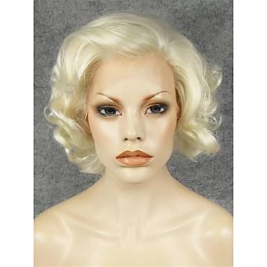 preiswerte Perückenparty-Synthetische Lace Front Perücken Locken Locken Spitzenfront Perücke Blond Kurz Blond Synthetische Haare Damen Natürlicher Haaransatz Seitenteil Blond
