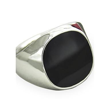levne Pánské šperky-Pánské Vyzvánění Pečetní prsten Syntetický safír Barva ozdobného kamene Přírodní černá Stříbrná Zlatá Syntetické drahé kameny Slitina Přizpůsobeno Vintage Punk Šperky