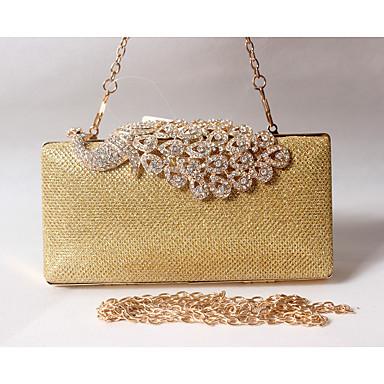 billige Utvalgte tilbud-Dame Krystall / Rhinstein poly uretan / Metall Aftenveske Rhinestone Crystal Evening Bags Ensfarget Svart / Gylden / Sølv