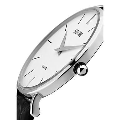 levne Pánské-SINOBI Pánské Náramkové hodinky Křemenný Pravá kůže Černá / Hnědá 30 m Voděodolné Odolný vůči nárazu Analogové Luxus Klasické Vintage Módní Minimalistické - Černá Hnědá Dva roky Životnost baterie