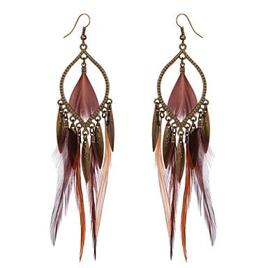 povoljno Modne naušnice-Žene Viseće naušnice Američki domorodac Perje Naušnice Jewelry Braon Za Party Kauzalni