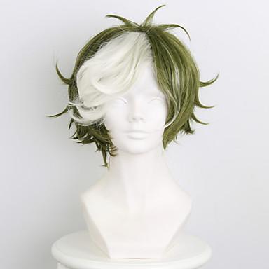 billige Kostymeparykk-Syntetiske parykker Kostymeparykker Rett Stil Lokkløs Parykk Grønn Syntetisk hår Herre Parykk Kort