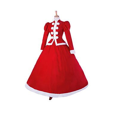เจ้าหญิง Santa Suits คอสเพลย์และคอสตูม สำหรับผู้หญิง วันคริสต์มาส วันฮาโลวีน เทศกาลคานาวาล Festival / Holiday ลูกไม้ ผ้าลินิน แดง ชุดเทศกาลคานาวาว สีพื้น / ซาติน