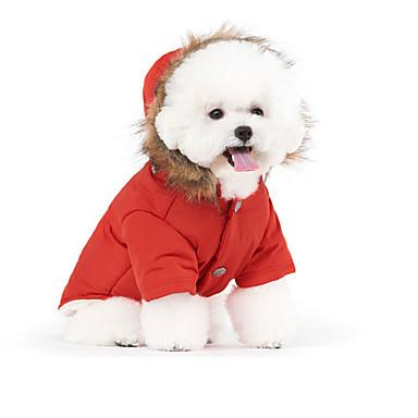แมว สัตว์เลี้ยง สุนัข เสื้อโค้ต Hoodies เสื้อกันหนาวขนเป็ด ฤดูหนาว Dog Clothes ขาว แดง ฟ้า เครื่องแต่งกาย ลง ฝ้าย สีพื้น Stylish รักษาให้อุ่น ป้องกันลม S M L XL XXL