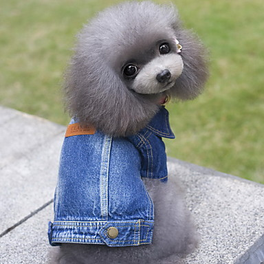 Dog Denim Jacket / Jeans Jacket Winter Dog Clothes Blue Costume Denim Jeans Cowboy Fashion S M L XL XXL