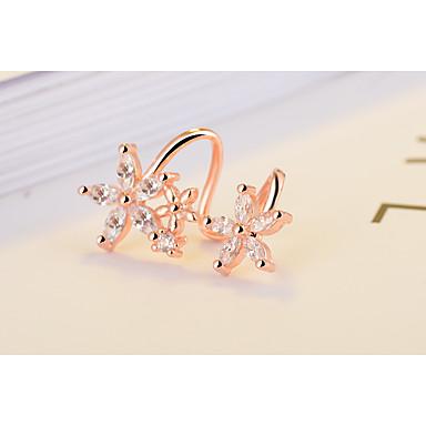 povoljno Modne naušnice-Žene Kristal Sintetički dijamant Sitne naušnice Klipse Pljusnuti Leaf Shape Srce Cvijet dame Osnovni Double-layer Elegantno Bling Bling Svaki dan Plastika Naušnice Jewelry Zlato / Pink Za Vjenčanje