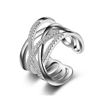 billige Motering-Dame Band Ring Knokering vikle ring Krystall Syntetisk Diamant Sølv Gylden Rose gull Sølv Fuskediamant damer Uvanlig Unikt design Bryllup Fest Smykker crossover X-ring Kors Kjærlighed