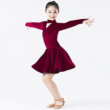 ชุดเต้นละติน ชุดเดรสต่างๆ Performance เส้นใยสังเคราะห์ / สแปนเด็กซ์ / กำมะหยี่ กระดุม แขนยาว ธรรมชาติ ชุดเดรส