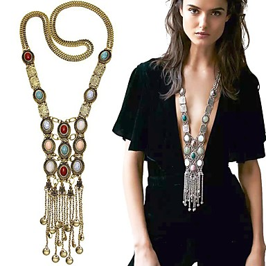 cheap Pearl Necklaces-Women's Pearl Pendant Necklace Statement Necklace Layered Tassel Fringe Long Ladies Tassel Bohemian Fashion Pearl Alloy Golden Silver 80 cm Necklace Jewelry For Party Daily Casual / Long Necklace