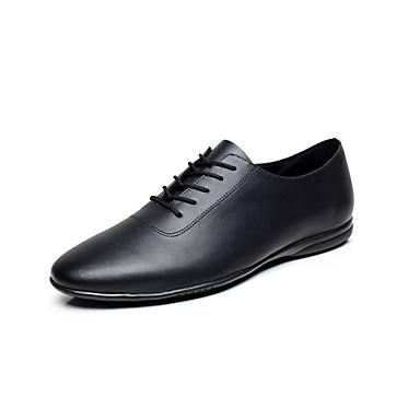 cheap Men's Dance Shoes-Men's Dance Shoes Leather Jazz Shoes / Dance Sneakers Ribbon Tie Flat Flat Heel Customizable Black / EU43
