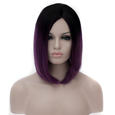 วิกผมสังเคราะห์ Straight ผมหยิกตรง ผมหยิกตรง ตรง อสมมาตรตัดผม ผมปลอม ขนาดกลาง Purple สังเคราะห์ สำหรับผู้หญิง เส้นผมธรรมชาติ ม่วง