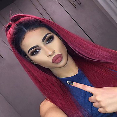 Synthetic Lace Front Wig Straight Synthetic Hair Ombre Hair / Dark Roots / Natural Hairline Red Wig Women's Long Lace Front / African American Wig