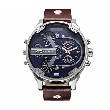 levne Pánské-CAGARNY Pánské Vojenské hodinky Náramkové hodinky japonština Křemenný Kůže Černá / Hnědá 30 m Voděodolné Kalendář Analogové Luxus Módní - Černá Hnědá