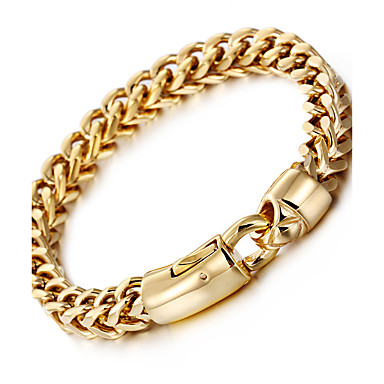 cheap Men's Bracelets-Men's Chain Bracelet Wheat Baht Chain Luxury Fashion Hip-Hop Hip Hop 18K Gold Plated Bracelet Jewelry Silver / Golden For Party Gift Daily Casual Street / Stainless Steel / Titanium Steel