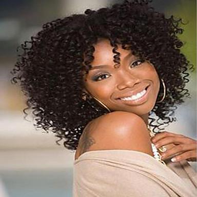 วิกผมสังเคราะห์ Kinky Curly หยิกหยักศก ผมปลอม ขนาดกลาง น้ำตาลเข้ม สังเคราะห์ สำหรับผู้หญิง วิกผมแอฟริกันอเมริกัน น้ำตาล AISI HAIR