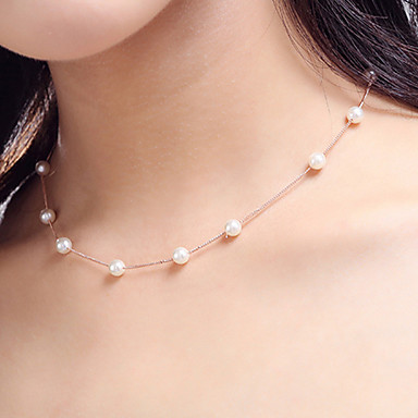 Women's Pearl Choker Necklace Beaded Necklace Pearl Necklace Rosary Chain Dainty Ladies Personalized Simple Pearl Imitation Pearl White Necklace Jewelry Wedding Party Daily Sports Cosplay Costumes