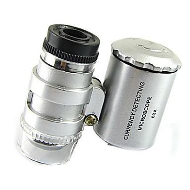 มินิ 60x กล้องจุลทรรศน์เครื่องประดับนำ Loupe UV สกุลเงินเครื่องตรวจจับแบบพกพาแว่นขยายแว่นขยายเลนส์ตาแก้วที่มีไฟ LED