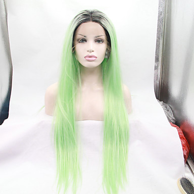 preiswerte Perückenparty-Synthetische Lace Front Perücken Glatt Gerade Spitzenfront Perücke Grün Synthetische Haare Damen Grün