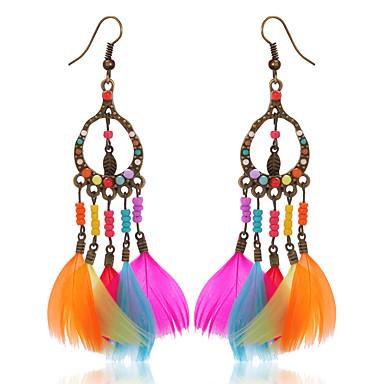 povoljno Modne naušnice-Žene Djevojčice Viseće naušnice dame Boemski stil Moda Američki domorodac Perje Naušnice Jewelry Duga Za Party Kauzalni