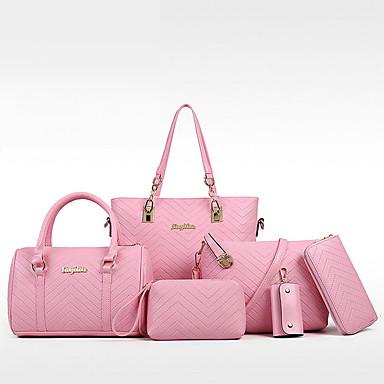 cheap Bag Sets-Women's Bags PU Leather Bag Set 6pcs Zipper for Formal White / Black / Blue / Red / Bag Sets