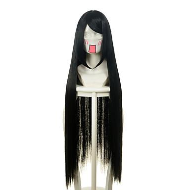 billige Kostymeparykk-Syntetiske parykker Kostymeparykker Rett Stil Lokkløs Parykk Svart Syntetisk hår Dame Svart Parykk Lang Veldig lang