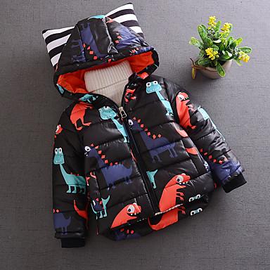 povoljno Odjeća za dječake-Djeca Dječaci Dnevno Print Dugih rukava Normalne dužine Pamuk Jakna i kaput Crn