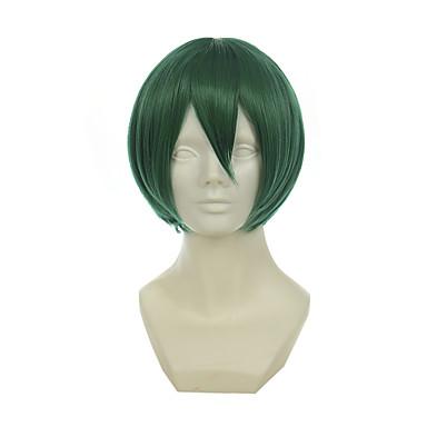 วิกผมสังเคราะห์ วิกคอสตูม Straight ตรง ผมปลอม Short Green สังเคราะห์ สำหรับผู้หญิง เขียว