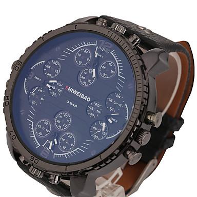 สำหรับผู้ชาย นาฬิกาแนวสปอร์ต นาฬิกาทหาร นาฬิกาอิเล็กทรอนิกส์ (Quartz) ที่มีขนาดใหญ่ หนัง ดำ / น้ำตาล แสดงสองเวลา เท่ห์ Punk ระบบอนาล็อก คลาสสิก วินเทจ ไม่เป็นทางการ แฟชั่น นาฬิกาตกแต่งข้อมือ -