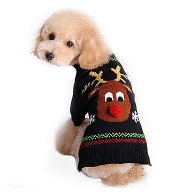 Katt Hund Tröjor Vinter Hundkläder Svart Kostym Cotton Ren Semester Jul XS S M L XL XXL