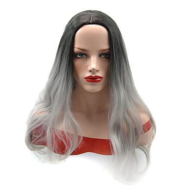 วิกผมสังเคราะห์ Straight Yaki ตรง Yaki ผมปลอม สีดำ / สีเทา สังเคราะห์ สำหรับผู้หญิง ผม Ombre ดำ OUO Hair