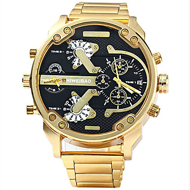 cheap Gold Watches-Men's Sport Watch Military Watch Bracelet Watch Stainless Steel Black / Gold Water Resistant / Waterproof Calendar / date / day Creative Analog Charm Luxury Casual Bangle - Black / Gold Blue White