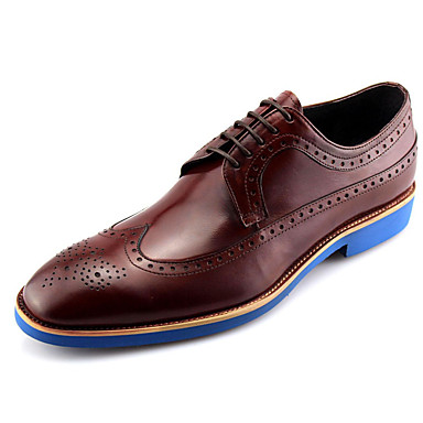 06b5e19f Marrón para Hombre Boda Café Cuero Zapatos Oxfords Claro Confort nwqqp0fZI