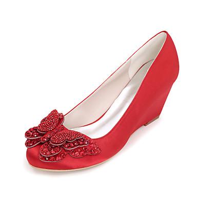 Mujer Zapatos Satén Primavera / Verano Pump Básico Zapatos de boda Tacón Cuña Dedo redondo Pedrería / Pajarita Azul / Champaña / Marfil Jeu Manchester Vente Site Officiel apCdlFA8