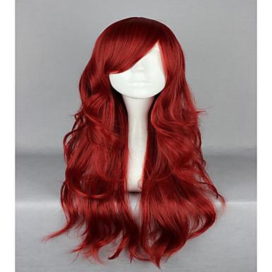 วิกผมสังเคราะห์ วิกคอสตูม Wavy Wavy ผมปลอม Red สังเคราะห์ สำหรับผู้หญิง แดง hairjoy