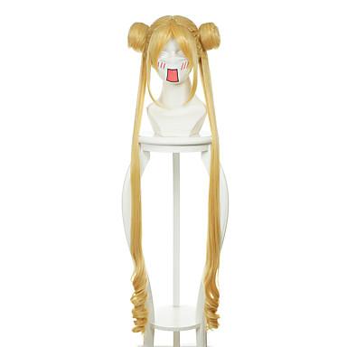 billige Kostymeparykk-Syntetiske parykker Kostymeparykker Rett Stil Med lugg Med hestehale Parykk Blond Lang Gul Syntetisk hår Dame Midtskill Blond Parykk