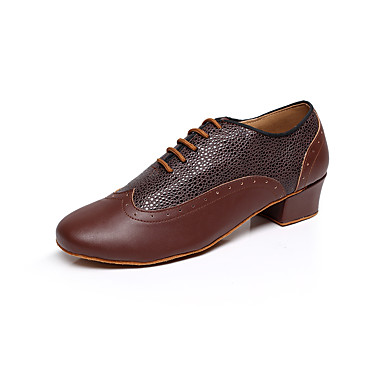 cheap Men's Dance Shoes-Men's Dance Shoes Leather Latin Shoes Imitation Pearl Heel Low Heel Customizable Black / Brown / Red / Indoor / Performance / Practice / Professional
