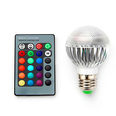 1pc 3.5 W หลอดสมาร์ท LED 220 lm E14 B22 E26 / E27 1 ลูกปัด LED LED กำลังสูง หรี่แสงได้ ควบคุมด้วยรีโมท คอนโทรล ตกแต่ง RGB 85-265 V / 1 ชิ้น / RoHs