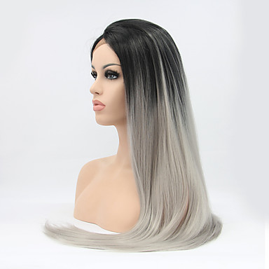 Synthetic Lace Front Wig Straight Straight Lace Front Wig Black / Grey Synthetic Hair Women's Ombre Hair Natural Hairline Black