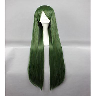 billige Kostymeparykk-Syntetiske parykker Kostymeparykker Rett Stil Lokkløs Parykk Grønn Syntetisk hår Dame Grønn Parykk hairjoy