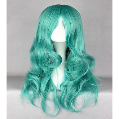 วิกผมสังเคราะห์ Wavy Wavy ผมปลอม ยาว Green สังเคราะห์ สำหรับผู้หญิง เขียว hairjoy