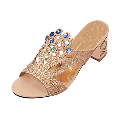 สำหรับผู้หญิง รองเท้าแตะ Crystal Sandals ส้นหนา / Block Heel Pointed Toe / เปิดนิ้ว หินประกาย แวววาว / PU รองเท้าส้น วสำหรับเดิน ฤดูร้อน ผ้าขนสัตว์สีธรรมชาติ / น้ำเงินเข้ม / สีน้ำเงินกรมท่า / EU36