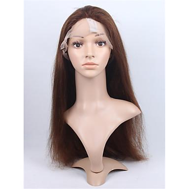 วิกผมจริง เต็มไปด้วยลูกไม้ มีลูกไม้ด้านหน้า วิก สไตล์ ผมบราซิล Straight วิก 130% Hair Density ผมเด็ก เส้นผมธรรมชาติ วิกผมแอฟริกันอเมริกัน 100% มือผูก สำหรับผู้หญิง Short ขนาดกลาง ยาว วิกผมแท้ / ตรง